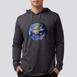 Western Earth from Space Mens Hooded Shirt