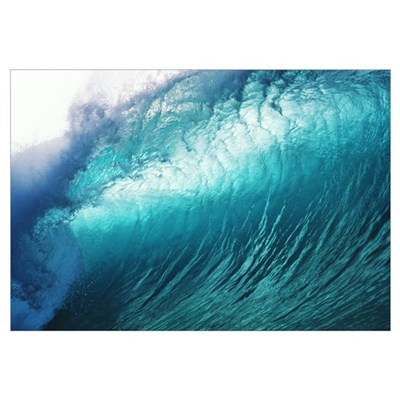 Hawaii, Close Up Of Huge, Glassy Wave Framed Print