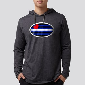Oval Leather Pride Flag Mens Hooded Shirt