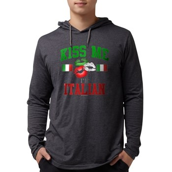 Kiss Me I'm Italian Mens Hooded Shirt