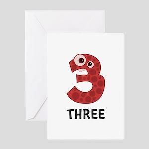 Number Three Greeting Card