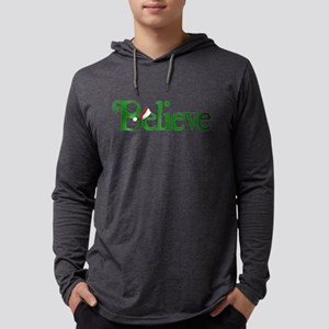 Believe with Santa Hat Mens Hooded Shirt