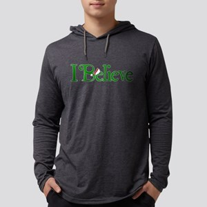 I Believe with Santa Hat Mens Hooded Shirt