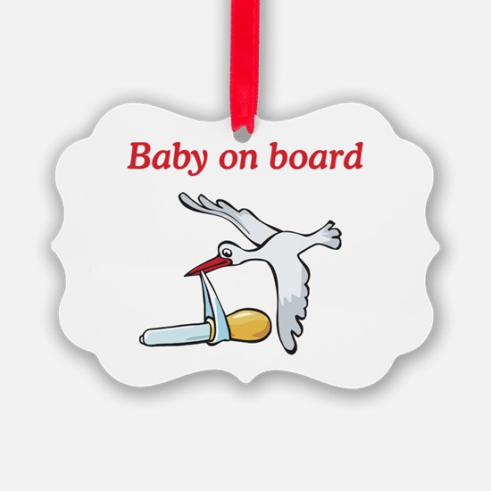 Baby on Board Stork Ornament