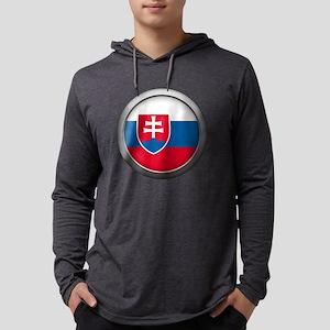 Round Flag - Slovakia Mens Hooded Shirt