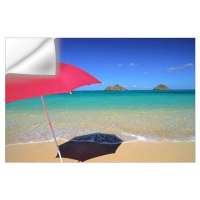 Hawaii, Oahu, Mokulua Islands, Red Umbrella And Sh Wall Decal