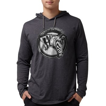 Distressed Wild Zebra Stamp Mens Hooded Shirt