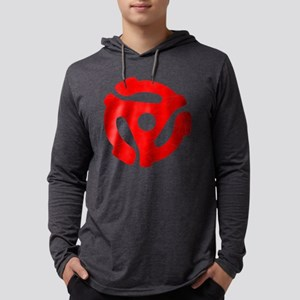 Red Distressed 45 RPM Adapter Mens Hooded Shirt