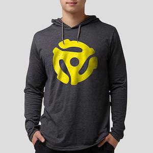 Yellow Distressed 45 RPM Adap Mens Hooded Shirt
