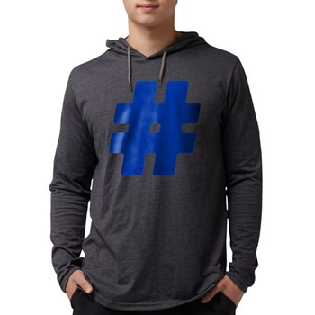 Blue #Hashtag Mens Hooded Shirt
