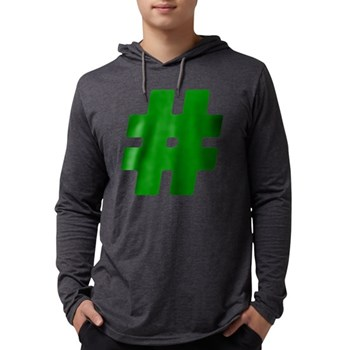 Green #Hashtag Mens Hooded Shirt