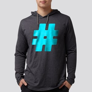 Turquoise #Hashtag Mens Hooded Shirt