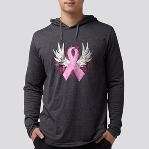 Winged Pink Ribbon Mens Hooded Shirt