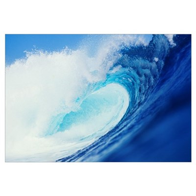 Hawaii, Side View Of Blue, Curling Wave Poster