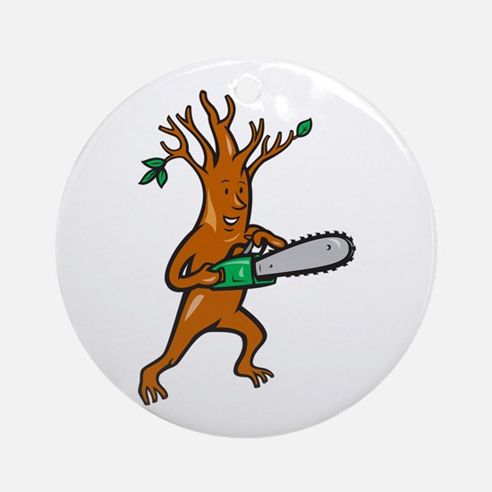 Tree Man Arborist With Chainsaw Ornament (Round)