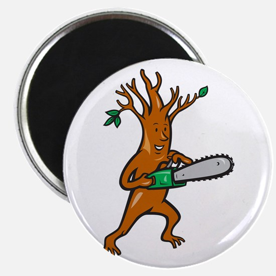 Tree Man Arborist With Chainsaw Magnet