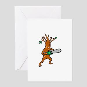 Tree Man Arborist With Chainsaw Greeting Card