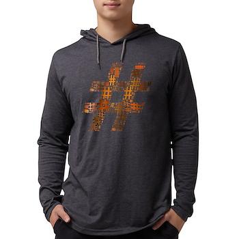 Orange Hashtag Cloud Mens Hooded Shirt
