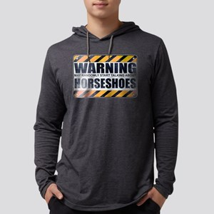 Warning: Horseshoes Mens Hooded Shirt