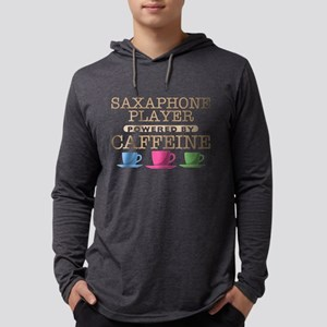 Saxaphone Player Powered by Caffeine Mens Hooded S