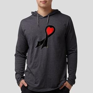 Black Ribbon with Heart Mens Hooded Shirt
