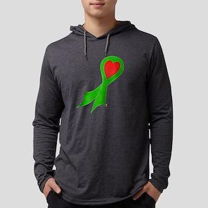 Green Ribbon with Heart Mens Hooded Shirt