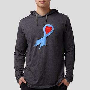 Light Blue Ribbon with Heart Mens Hooded Shirt