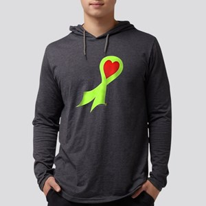 Lime Green Ribbon with Heart Mens Hooded Shirt