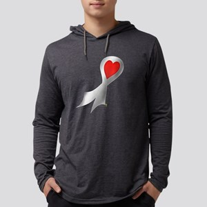 Silver Ribbon with Heart Mens Hooded Shirt