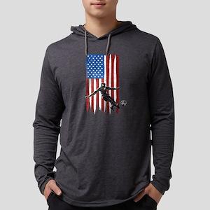 USA Flag Team Soccer Mens Hooded Shirt