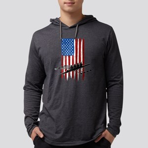 USA Flag Team Rowing Mens Hooded Shirt