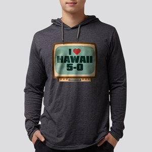 Retro I Heart Hawaii 5-0 Mens Hooded Shirt