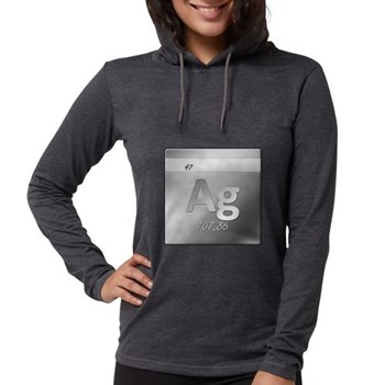 Silver (Ag) Womens Hooded Shirt
