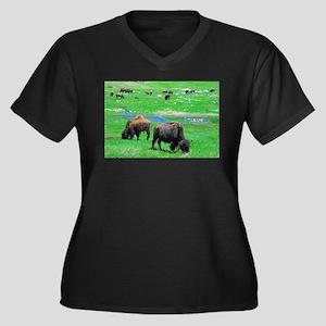 South Dakota Bison Women's Plus Size V-Neck Dark T