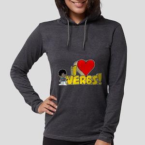 I Heart Verbs - Schoolhouse R Womens Hooded Shirt