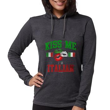 Kiss Me I'm Italian Womens Hooded Shirt