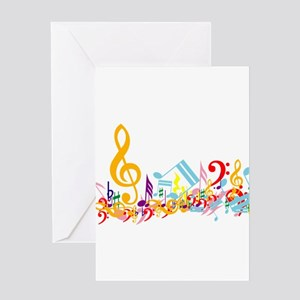 Colorful Musical Notes Greeting Cards