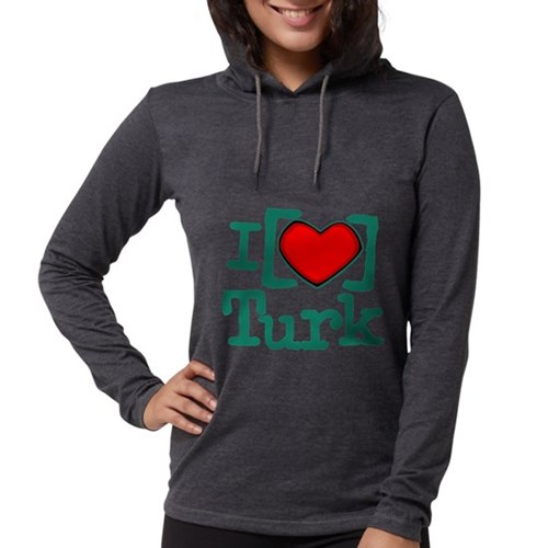 I Heart Turk Womens Hooded Shirt