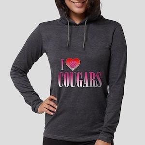 I Heart Cougars Womens Hooded Shirt