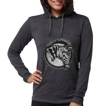 Distressed Wild Zebra Stamp Womens Hooded Shirt