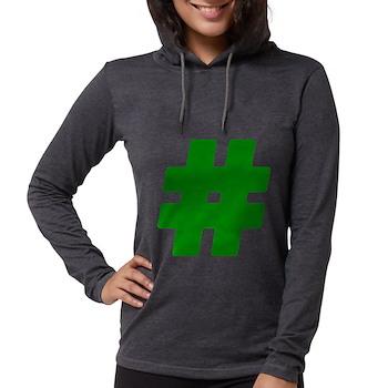 Green #Hashtag Womens Hooded Shirt