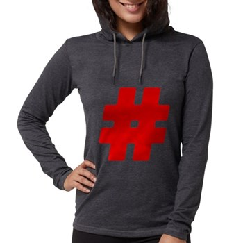 Red #Hashtag Womens Hooded Shirt