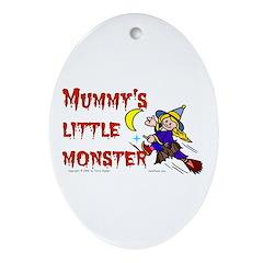 Mummy's Little Monster (girl) Oval Ornament