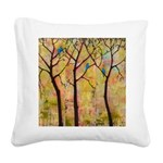 Three Trees With Bluebirds Square Canvas Pillow