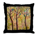 Three Trees With Bluebirds Throw Pillow