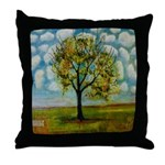 Tree in a Cloud Patterned Blue Sky Throw Pillow
