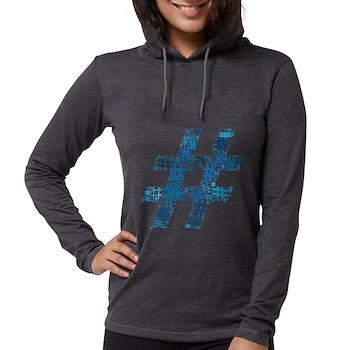 Blue Hashtag Cloud Womens Hooded Shirt