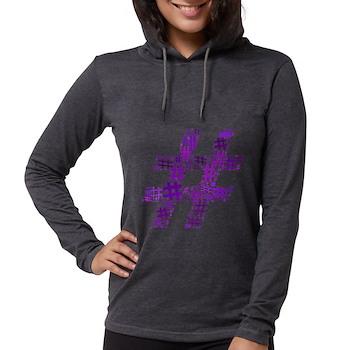Purple Hashtag Cloud Womens Hooded Shirt