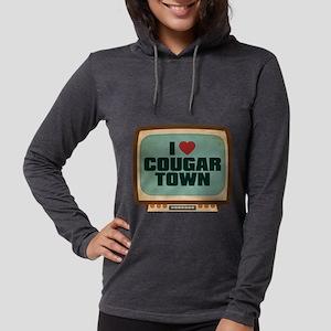 Retro I Heart Cougar Town Womens Hooded Shirt