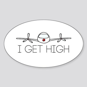 'I Get High' Sticker (Oval)